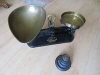 Vintage style Kitchen Scales with 8 weights.