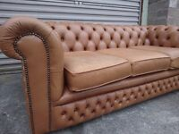 Vintage Tan 3-Seater Chesterfield Sofa