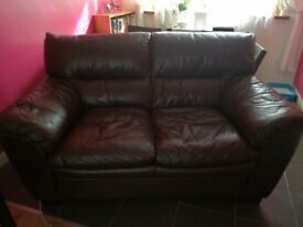 2seater brown italian leather sofa