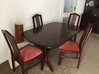 Dining Table & 4 Chairs (Mahogony) in excellent condition