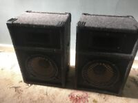 """Skytec Speakers. Pair Of. 200W. Good Condition. 8"""" Drivers. Approx 420mm X 290mm X 220mm"""