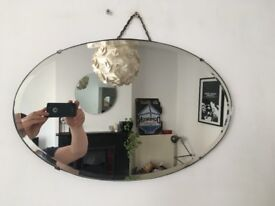 Vintage 1930s Art Deco Small Oval Frameless Bevelled Edge Wall Mirror Worn (2nd)