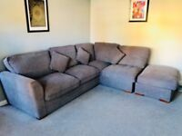 Grey Corner Sofa + Foot Stool / Puff (nearly new)