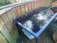Large metal sturdy black tinted glass outside table to seat 6