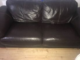 Leather 3 seater sofa choc brown