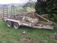 Indespention braked plant trailer ifor williams