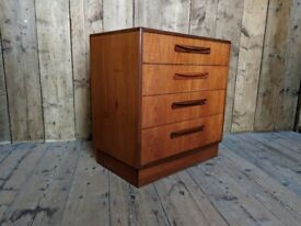 G Plan Fresco 4 drawer chest of drawers 1960s Danish teak era mid century modern vintage gplanera