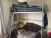 Ikea high sleeper single bed & Mattress silver colour
