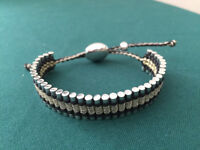 Links of london- silver with gold and black thread friendship bracelet