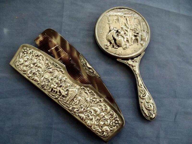 Vintage Danish Silver Hans Jensen Figural Repousse Silver Mirror & Comb w/Holder