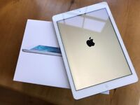 iPad Air WiFi 32gb Silver back white face. Boxed unused accessories - As new