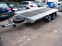 NEW FLAT BED CAR TRANSPORTER RECOVERY TRAILER 2700KG TWIN AXEL 4.5 M 15FT LONG 2.1 M 6.88FT WIDTH