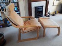 Super comfy Armchair - POANG - birch veneer, leather