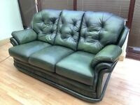 FREE Thomas Lloyd 3 seater sofa / settee green leather. Pucklechurch, BS16.