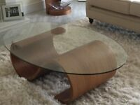 Stunning Tom Schneider Swirl Coffee Table in walnut with oval glass top
