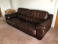 Brown Leather Sofa and Armchair from DFS
