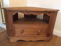 Antique pine corner tv stand