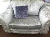 Silver velvet armchair