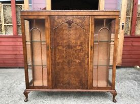China Cabinet Walnut Display Cabinet Unit Early 20th Century Delivery Available