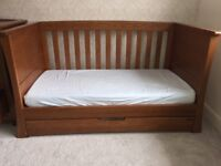 Mamas & Papa Ocean range solid dark oak cot bed, wardrobe and chest of drawers/changer £400