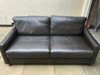 TWO John Lewis Two Seater Leather Sofa - Chocolate Brown