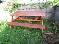 WOODEN 6 SEATER PICNIC TABLE