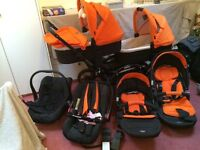 Twin buggy OBABY tandem with all accessories + car seats + buggy seats + carry cots