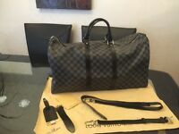 Louis Vuitton LV keepal grey Damier real leather gym duffle bag.