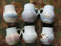 6 vintage handmade or hand-painted stoneware mugs cups - individually designed. Pottery, earthenware