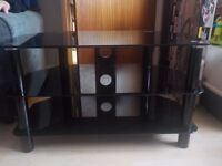 Black Glass Television Stand/Unit - Some small scratches to Top - Collect asap PE27
