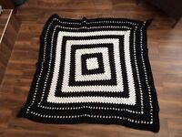Handmade 'Granny Square' crochet blanket (black and white)