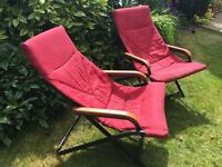 Beautiful, red, sun, garden lounger chairs