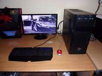 Fast budget Gaming PC setup - 3-core 3.0GHz, 4GB DDR3, hd 6850, 650GB, Full HD Monitor