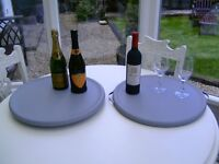 Round serving tray and lazy Susan set