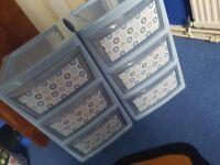 2x Boys blue plastic drawers