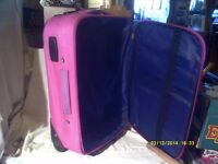 "A PINK SUITCASE HANDLE & ZIPS O.K. >< 21"" by 15"" by 7"" HANDY CASE >< ONLY £10 ."