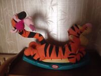 RARE Little Tikes Rocking Tiger with Piglet RARE