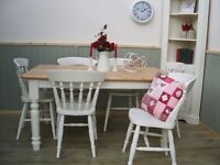 Stunning Reclaimed Pine Country Farmhouse 5ft Table and 6 Chair Set.