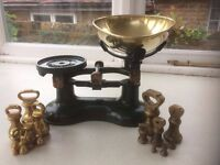 Cast iron kitchen scales (Green) and weights, metric and imperial, Boots cookshop