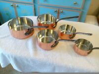 Genuine French copper saucepan set.
