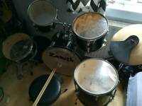 Drum kit with pads.