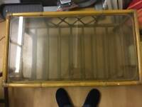 Bamboo oblong glass top table
