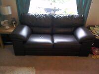 Chocolate brown Italian leather sofa