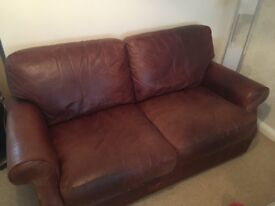FOR SALE 2 X BROWN DISTRESSED LEATHER TWO SEATER SOFAS, EXCELLENT CONDITION, L1.7m, H0.85m, W0.9m