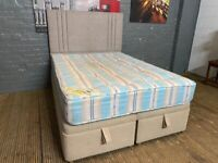 DOUBLE OTTOMAN BED BASE WITH MATTRESS AND HEADBOARD NEW BASE