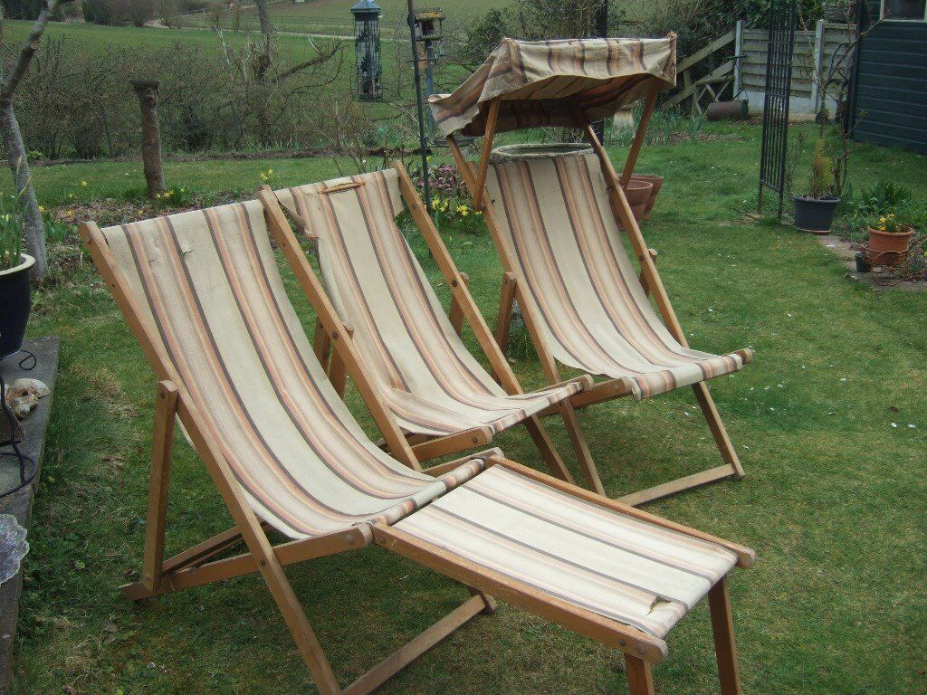 3x Vintage Edwardian Deck Chairs with 1x Sunshade and 1x Footrest - 3x Vintage Edwardian Deck Chairs With 1x Sunshade And 1x Footrest
