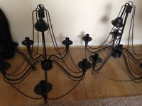 Beautiful good condition working chandelliers in black