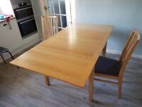 90* 90 Ikea Extenable Oak Veneer table with 4 matching seats