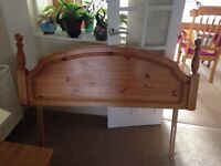 Antique pine headboard fits 5 ft bed