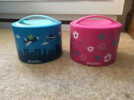 Unused children's Aladdin insulated food bento containers